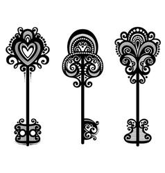 Set of vintage ornate keys vector