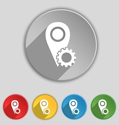 Map pointer setting icon sign symbol on five flat vector