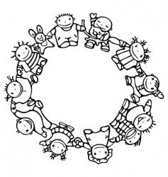 Circle of happy children vector