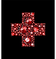 Gem red cross vector