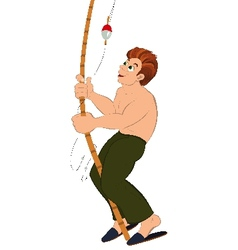 Cartoon man in green pants with fishing rod vector