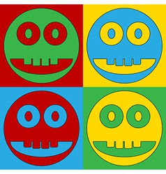 Pop art smile face circle icons vector