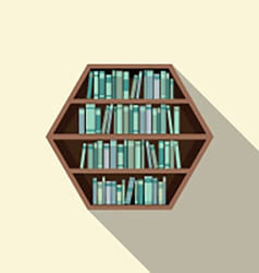 Hexagon bookshelf on wall vector