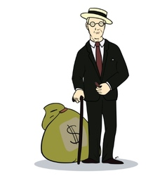 Rich man with sack of money of vector