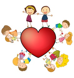 Children and heart vector