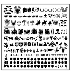 Silhouettes of heraldic design vector