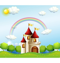 A castle below the rainbow vector