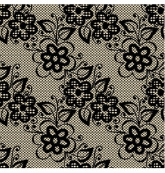 Seamless black lace on beige background vector