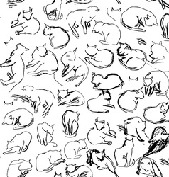 Freehand sketch seamless patern with black cats on vector