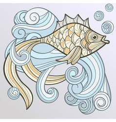abstract fish on splash of water vector