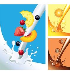 Milk juice chocolate splashes vector