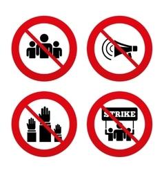 Strike group of people megaphone loudspeaker vector