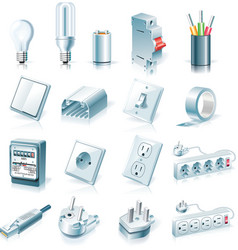 Electrical supplies icon set vector