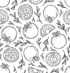 Sketched tomatoes pattern vector