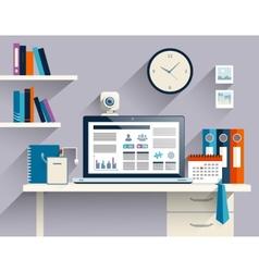 Businessman workplace flat vector