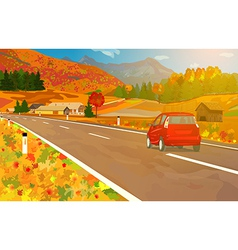 Car travel in alps vector