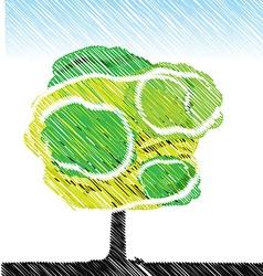 Tree pencil color sketch vector
