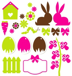 Spring easter elements isolated on white vector