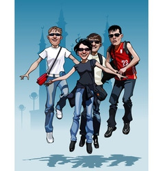 Cartoon company teen friends joyfully jump vector