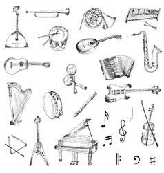 Set of music instruments vector