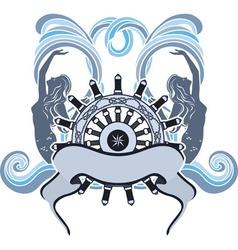 Marine emblem wheel and mermaid vector