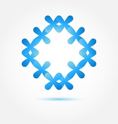 Abstract symbol in blue soft colors made of many vector