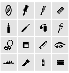 Black cosmetics icon set vector
