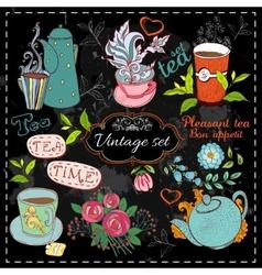 Set of tea collection vector