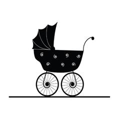Baby stroller cartoon vector