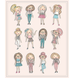 Cartoon girls fashion children set of cute girls vector