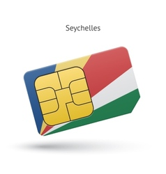 Seychelles mobile phone sim card with flag vector