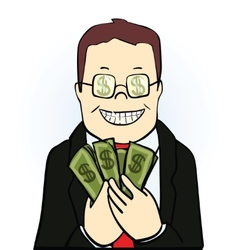 Smiling man in suit and glasses holding dollars vector
