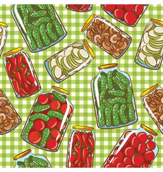 Seamless pattern with homemade pickles vector