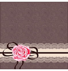 Card pattern with napkin ribbon and rose vector