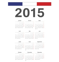 French 2015 year calendar vector