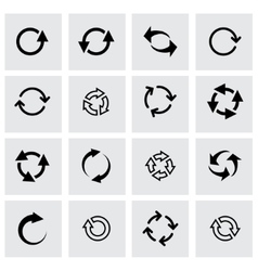 Black refresh icon set vector