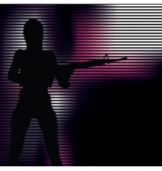 Girl with gun silhouette vector