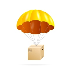 Yellow parachute with cardboard box on a white vector