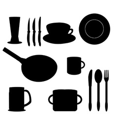 Silhouettes of kitchen accessories vector