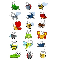 Cartooned insects set vector