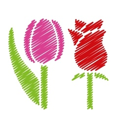 Handwriting flower pictures vector