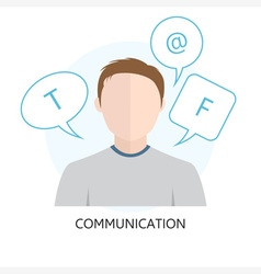 Communication icon with man vector