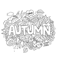 Autumn hand lettering and doodles elements vector