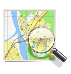 Map with lens vector