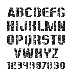 Stencil plate font and numeral vector
