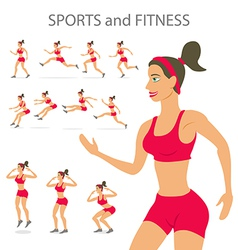 Dancing girl red sports pants cartoon flat vector