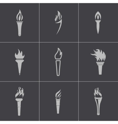 Black torch icons set vector