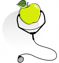 Apple and stethoscope vector