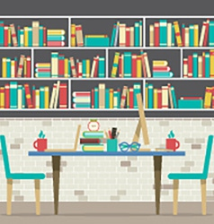 Modern flat design workplace with bookcase vector