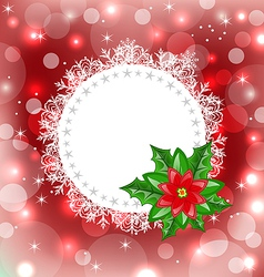 Christmas card with flower poinsettia vector